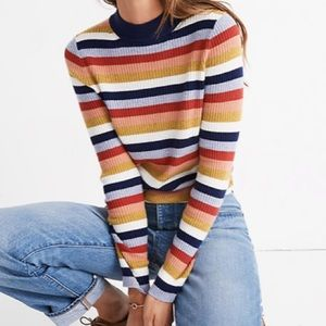 Madewell | MockNeck Pullover Sweater in Stripe